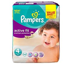 Couches active fit maxi, 7-18kg PAMPERS, drugbag de 43