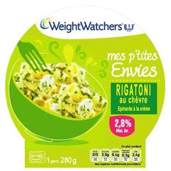 Weight Watchers, Mes P'tites Envies - Rigatoni au chevre, 8PP, la barquette de 280 g
