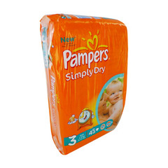 Pampers simply dry midpack 4/9kg x45 taille 3