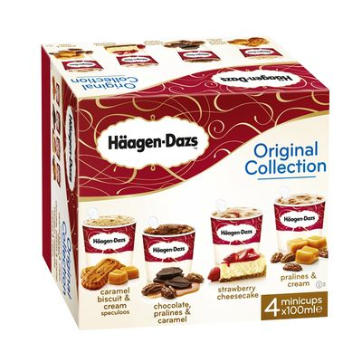 HAAGEN DAZS SPECIALITE INDIVIDUELLE MINI-CUPS CLASSIQUE ORIGINAL COLLECTION X4 400ML