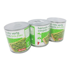 Auchan haricots verts tres fins coupes 3x110g