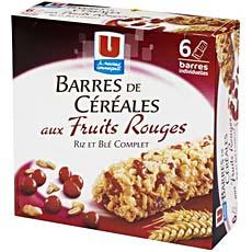 Barres de cereales aux fruits rouges U, 6 pieces, 138g