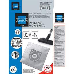 Sacs aspirateurs DOM-19 compatibles Philips, Rowenta, le lot de 4 sacs synthetiques resistants