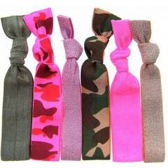 Twistband GI JESS set 6 élastiques vert army, camouflage rose, camouflage vert, or, rose neon, bubblegum metal...