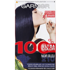 100% color Noir bleu n° 210, creme-gel coloration permanente, colorants purs, vitamine B3-B6, La boite de 120ml