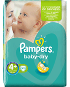 Pampers Couches Baby-dry taille 4 + : 9-20 kg le paquet de 41