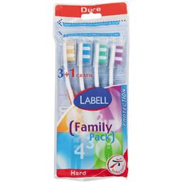 Labell, Protection Brosses a dents, dure, family pack, les 4 brosses a dents