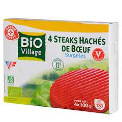 Steacks haches Bio Village Boeuf 4x100g