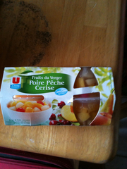Coupelles de fruits du verger poires, peches, cerises U, 3 unites, 452g