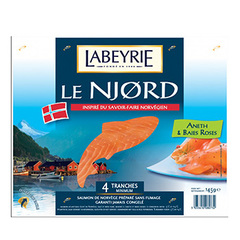 Saumon non fume Labeyrie Aneth baies roses x4 145g