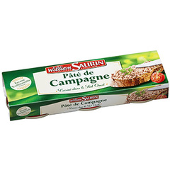 Pate de campagne pur porc WILLIAM SAURIN, 3x78g