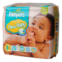 Pampers, New baby couches taille 3, 4 - 7 Kg, un paquet de 29 couches.