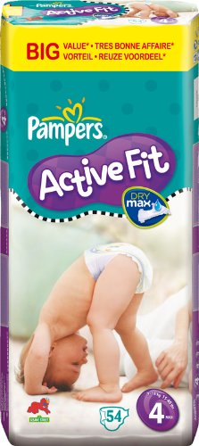 Pampers - 81261359 - Active Fit Couches - Taille 4 Maxi (7-18 Kg) - Format economique X 54 Couches