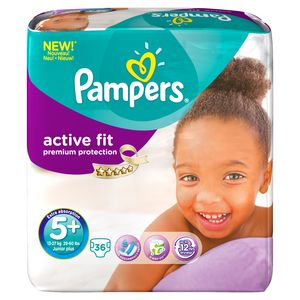 Pampers, Couches active fit, taille 5 + : 13-27 kg, le paquet de 36