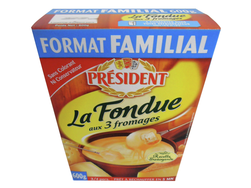 Preparation pasteurisee pour fondue aux 3 fromages PRESIDENT, 16%MG, 600g