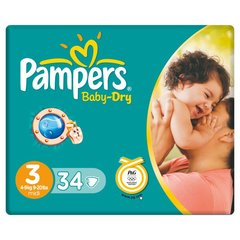 Pampers Baby Dry paquet midi 4-9kgs x34 taille 3