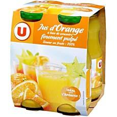 Jus a base de concentre d'orange U, pack de 4x20cl