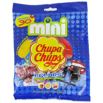 Mini sucettes gout cola, orange et cerise Colors CHUPA CHUPS, 30 unites, 180g