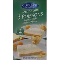 Terrine aux 3 poissons GUYADER, 2 tranches, 120g