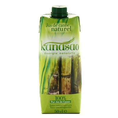 Pur jus de canne 100% naturel KANASAO, brique de 50cl