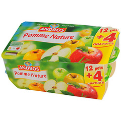 Compotes pommes Andros 12x100g