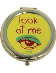 Incidence Paris Miroir de Poche Métal Look At Me, 6 cm, Vert Anis/Orange