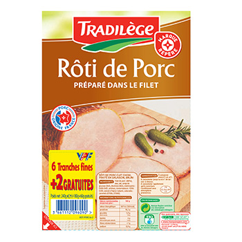 Roti cuit choix Tradilege 6 tranches + 2 gratuit VPF 240g