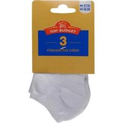 Top budget Chaussettes invisibles sport blanc junior t35/38 LE LOT DE 3