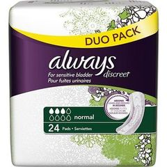 Always discreet serviettes incontinence normal x24 duopack