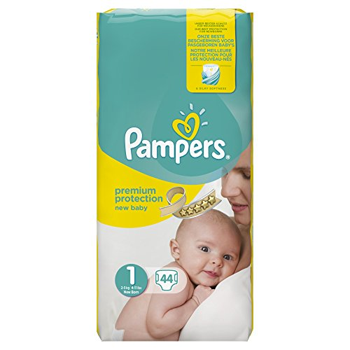 Couches new baby newborn T1 (2/5kg) PAMPERS, paquet x44