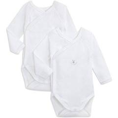 2 Body manches longues Gamme Blanche PETIT BATEAU, taille 1 mois, blanc