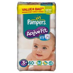 Pampers active fit value midi + taille 3 + change x60