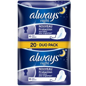 Always ultra serviettes hygienqiue nuit x20 jumbopack