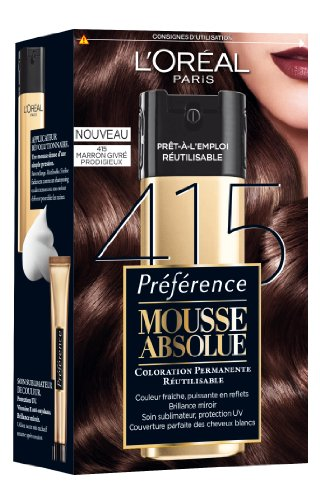 Coloration permanente Mousse Absolue PREFERENCE, marron givre prodigieux n°415