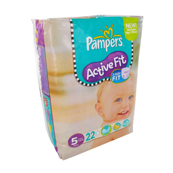 Couches Active Fit juniorPAMPERS, taille 5, 11 a 25kg, 22 unites