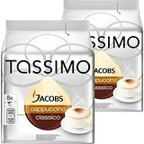Tassimo Jacobs Cappuccino, Lot de 2, 2 x 16 T-Discs (16 Portions)