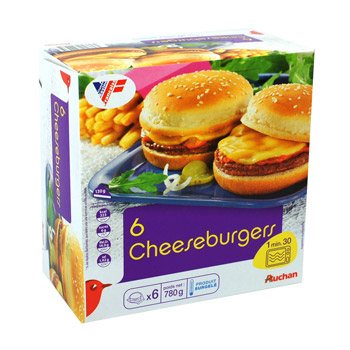 Auchan cheeseburger x6 -780g