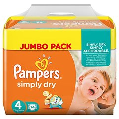 Pampers simply dry jumbo couches bébé t4 maxi x74