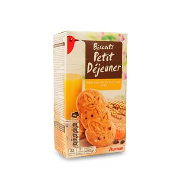 Auchan biscuits matin vitalite miel pepites choco 400g tous les produits barres de c r rales - Carbonate de sodium danger ...