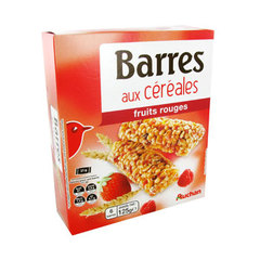 Auchan barre de cereales fruits rouges x6 - 125g