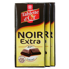 Chocolat Tablette d'Or noir Extra 47% cacao 3x100g