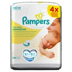 Pampers Lingettes New Baby Sensitive les 4 paquets de 50 lingettes