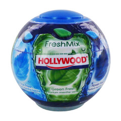 Chewing gum fresh mix sans sucres HOLLYWOOD, sphère de 87g