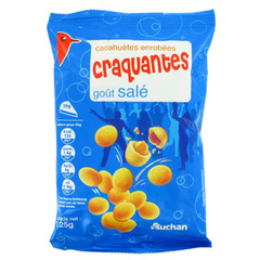 Auchan cacahuetes enrobees craquantes salees 1 x 125g