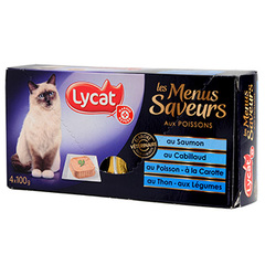 Patee chats Lycat Menus saveurs poissons 4x100g