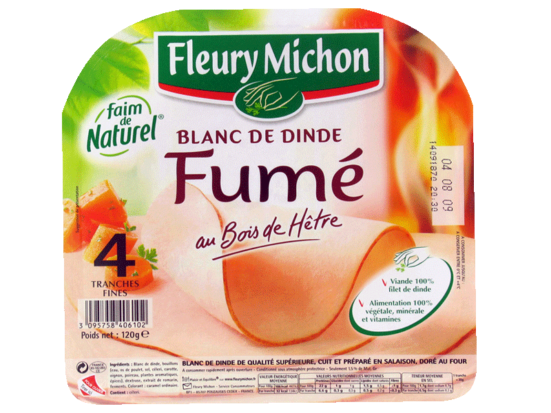 Filet de dinde fume FLEURY MICHON, 4 tranches fines, 120g