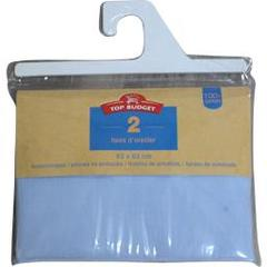 Top Budget, Taies d'oreiller 63x63 bleu, le lot de 2