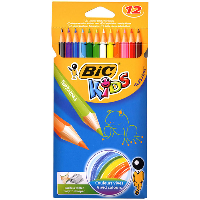 CRAYON DE COULEUR BIC KIDS TRIPOCOLORS X12-CORPS HEXAGONAL COLORE EN BOIS-MINE PIGMENTEE-FINITION DE QUALITE-COLORISVIFS ASSORTIS