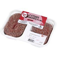 Steak hache pur boeuf BIEN VU, 15%MG, 2x125g