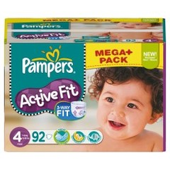 Couches Active Fit mega + PAMPERS, taille 4, 7 a 18kg, 92 unites